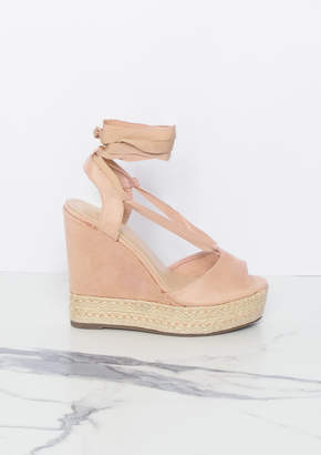 3ed17e801232 Missy Empire Missyempire Rosalie Pink Suede Lace Up Wedge Sandal