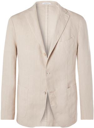 Boglioli Green K-Jacket Slim-Fit Unstructured Linen Suit Jacket