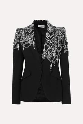 Alexander McQueen Crystal-embellished Crepe Blazer - Black