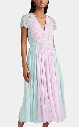 J. Mendel Women's Embellished Colorblocked Silk Plissé Cocktail Dress - Lilac