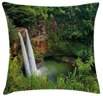 East Urban Home Twin Waterfalls Hawai Square Pillow Cover East Urban Home