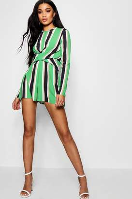 boohoo Striped Twist Front Playsuit