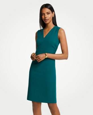 Ann Taylor Doubleweave V-Neck Sheath Dress