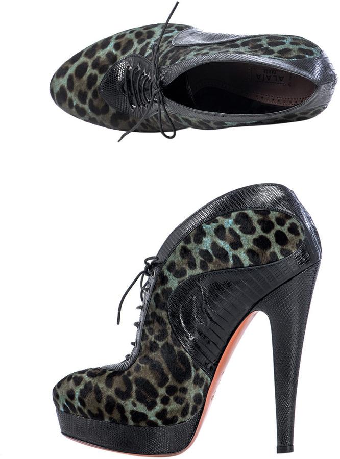 Azzedine Alaia Leopard-print ponyskin boots