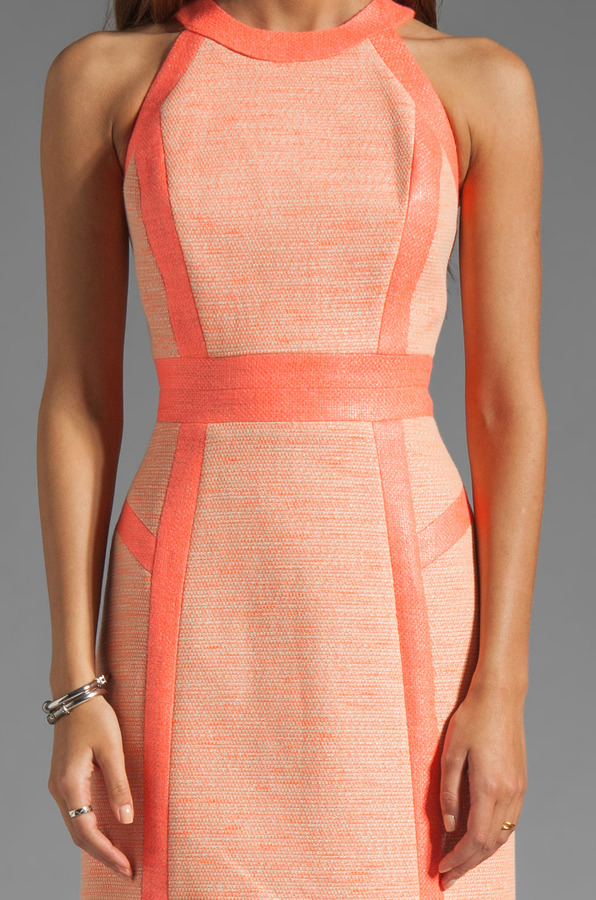 Milly Neon Couture Cotton Tweed Piped Strappy Dress