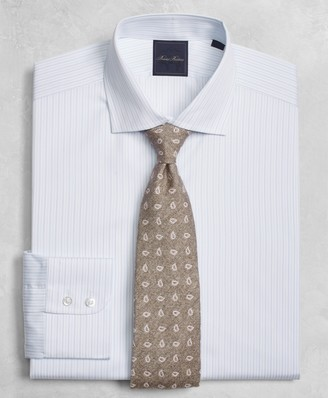 Brooks Brothers Golden Fleece Milano Slim-Fit Dress Shirt, English Collar Two-Tone Alternating-Stripe