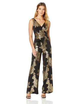 Nine West Women's Sleeveless Jumpsuit with Surplus Detail & Asymetrical Bodice, Black/Gold