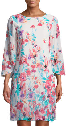 Chetta B Tulip-Sleeve Floral Shift Dress