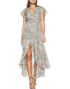 Auguste Spring Rose Frill Neck Wrap Maxi Dress