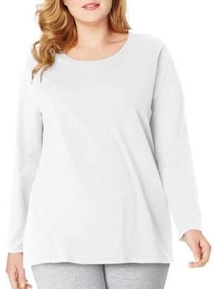 Just My Size Plus-Size Women's Long-Sleeve Scoopneck Tee