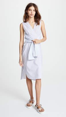 Alexander Wang Combo Striped Shirting Tie Front Midi Dress