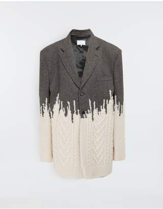 Maison Margiela Two-Tone Micro Herringbone Wool And Knit Jacket
