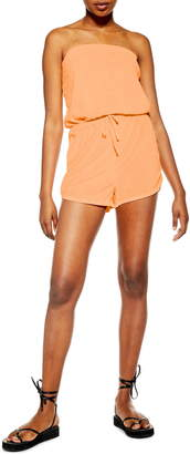 Topshop Strapless Velour Cover-Up Romper