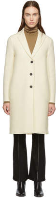 Harris Wharf London White Boiled Wool Overcoat