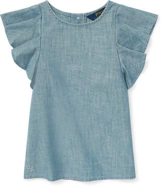 Ralph Lauren Chambray Flutter-Sleeve Top