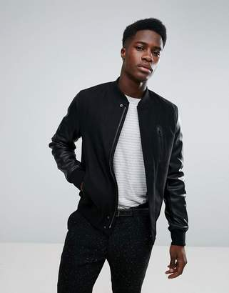 Stradivarius Bomber Jacket With Faux Leather Sleeves In Black