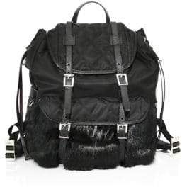 Prada Rabbit Fur& Nylon Backpack
