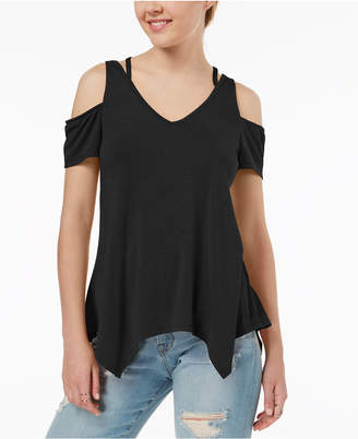 Almost Famous Juniors' Strappy Cold-Shoulder Top