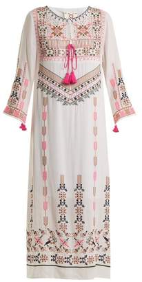 Figue Josefina Geometric Embroidered Silk Dress - Womens - White Multi