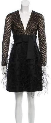 Michael Kors Ostrich Feather-Trimmed Mini Dress