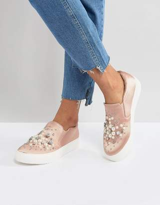 New Look Slip On Pearl Detail Satin Sneaker