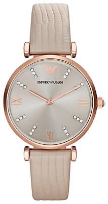 Emporio Armani AR1681 Women's Leather Strap Watch, Cream/Silver