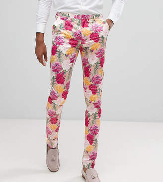 Asos Tall Wedding Skinny Crop Smart Pants In Pink Floral Print