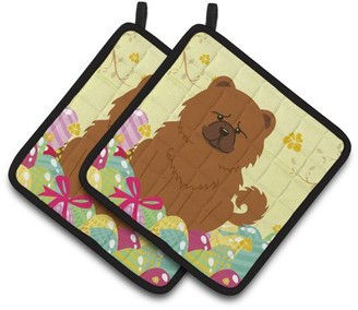 Caroline's Treasures Easter Eggs Chow Chow Red Pair of Pot Holders