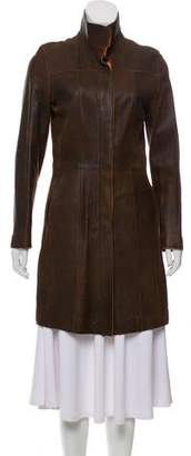 Andrew Marc Leather Knee-Length Coat