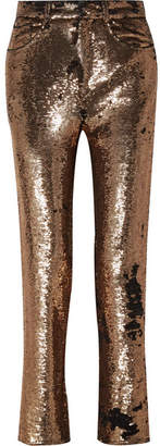 IRO Sequined Crepe Straight-leg Pants - Gold