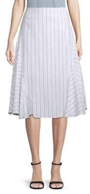 J.o.a. Striped Fit-and-Flare Midi Skirt