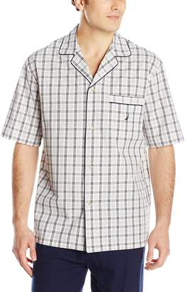 Nautica Men's Oatmeal Plaid Woven Sleep Shirt