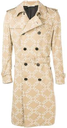Valentino double-breasted logo print trench coat