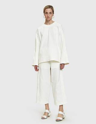 Dima Leu Pleated Stripe Pant in White