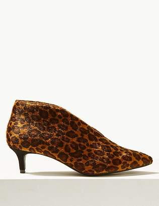 Marks and Spencer Wide Fit Kitten Heel V-Cut Shoe Boots