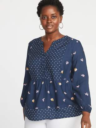 Old Navy Mixed-Print Plus-Size Poet-Sleeve Blouse