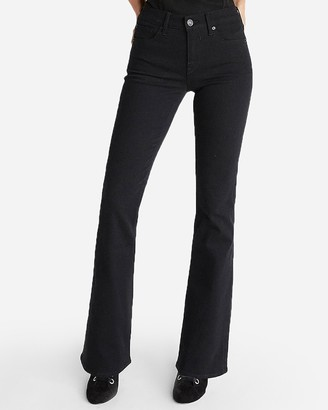 Express Mid Rise Black Stretch Bootcut Jeans