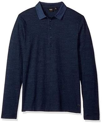 HUGO BOSS BOSS Orange Men's Principle 2 Long Sleeve Polo with Jersey Denim Mix