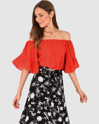 4e5709b25001df Red Off Shoulder Tops For Women - ShopStyle Australia