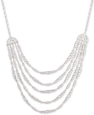 Carolee Silver-Tone Cubic Zirconia Multi-Row Statement Necklace