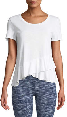 Lanston Draped Ruffle Scoop-Neck Tee