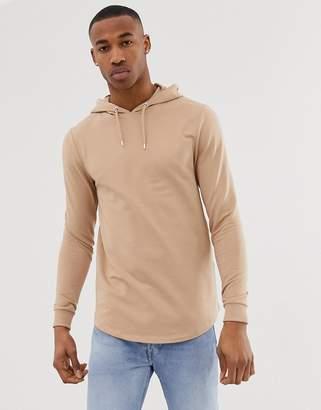 BEIGE Asos Design ASOS DESIGN longline muscle fit hoodie with curved hem in