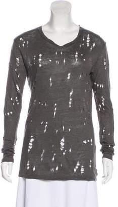 IRO Linen Distressed Long Sleeve T-Shirt
