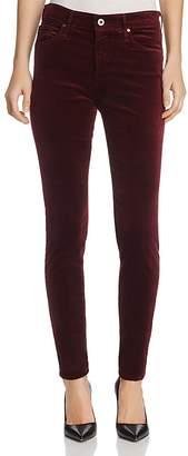 AG Jeans Farrah Velvet Skinny Jeans in Deep Currant