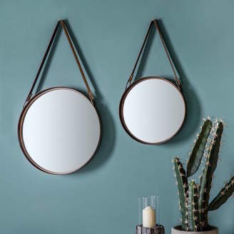 Co The Forest & Set Of Two Round Mirrors With Faux Leather Straps