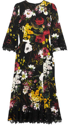 Dolce & Gabbana - Lace-trimmed Floral-print Silk-blend Midi Dress - Black $3,375 thestylecure.com