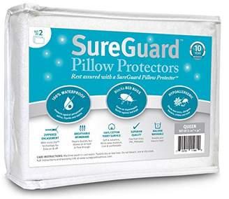 Set of 2 Queen Size SureGuard Pillow Protectors - 100% Waterproof