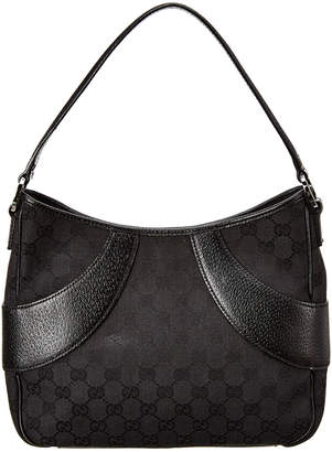 Gucci Black Gg Canvas & Leather Signature Shoulder Bag
