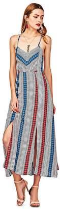 DEZZAL Women's Spaghetti Strap Geometric Print Slit Strappy Back Maxi Dress (M)