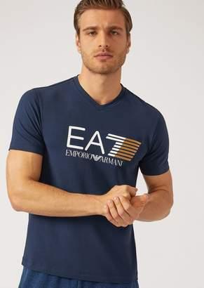 Emporio Armani Ea7 T-Shirt With Contrasting Logo